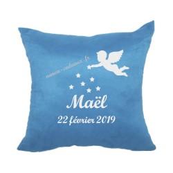 Coussin naissance personnalisé bleu ange velours housse
