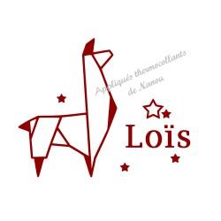 Appliqué thermocollant velours prénom origami lama