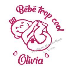 Appliqué thermocollant fille bébé cool prénom en flex pailleté
