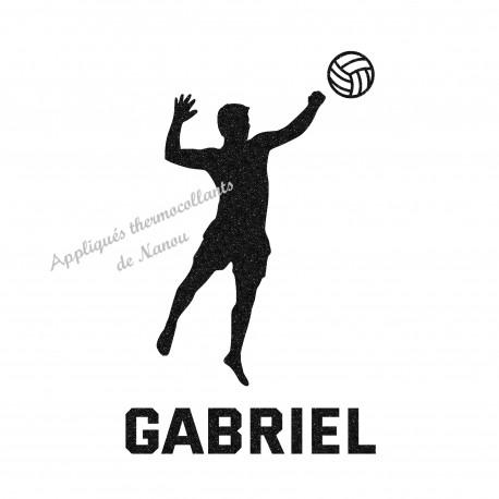 Appliqué thermocollant personnalisé volley ball en flex pailleté