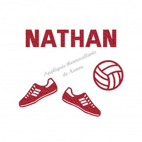 Appliqué thermocollant ballon volley ball personnalisé et chaussure en flex pailleté