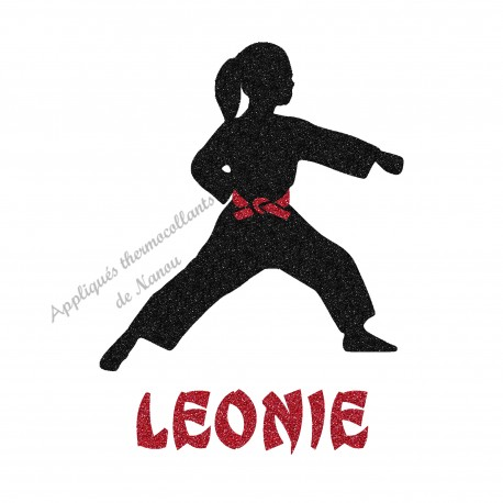 Appliqué thermocollant arts martiaux karaté judo personnalisé fille en flex pailleté