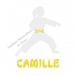 Appliqué thermocollant velours arts martiaux karaté judo personnalisé fille en flex pailleté
