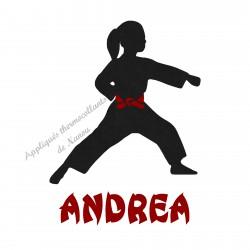 Appliqué thermocollant velours fille arts martiaux karaté judo personnalisé en flex pailleté