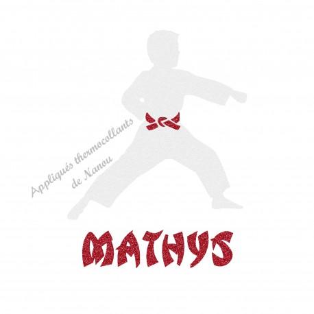Appliqué thermocollant karaté personnalisé garçon arts martiaux judo en flex pailleté