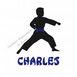 Appliqué thermocollant arts martiaux karaté judo personnalisé garçon en flex pailleté