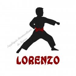 Appliqué thermocollant velours garçon arts martiaux karaté judo personnalisé en flex pailleté