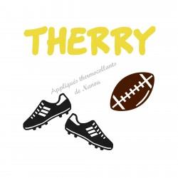 Appliqué thermocollant personnalisé ballon rugby et chaussure en flex velours