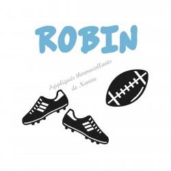 Appliqué thermocollant velours personnalisé ballon rugby et crampons