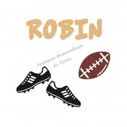 Appliqué thermocollant rugby personnalisé ballon et crampons