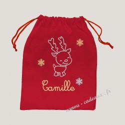 Petit sac pochon rouge personnalisé noël petit renne