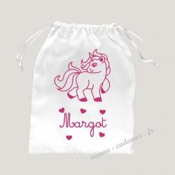 Petit sac pochon adorable licorne personnalisé prénom velours