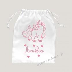 Petit sac pochon licorne coeur personnalisé prénom pailleté