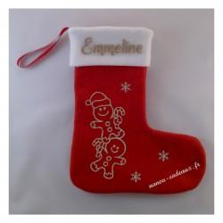 Botte chaussette de Noël pain d'épice avec prénom personnalisé