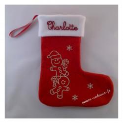 Botte chaussette de Noël bonhomme sucre d'orge avec prénom personnalisé
