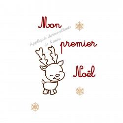 Mon premier Noël petit renne et flocons en appliqué thermocollant