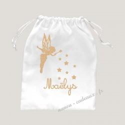 Petit sac pochon fée étoiles personnalisé prénom pailleté