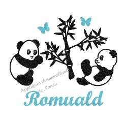 Appliqué thermocollant personnalisé panda garçon