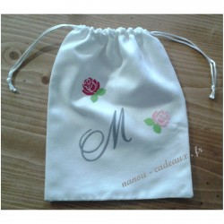 Petit sac pochon personnalisé initial monogramme en velours