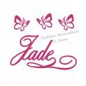 Appliqué thermocollant prénom et jolis papillons velours