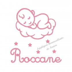Appliqué thermocollant prénom et bébé sur un nuage personnalisé en flex pailleté