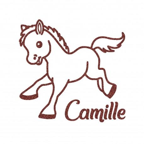 Appliqué thermocollant poney avec prénom personnalisé en flex pailleté