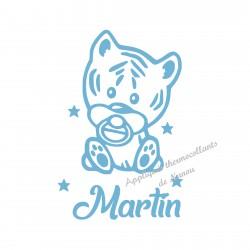 Appliqué thermocollant personnalisé bébé tigre avec prénom velours