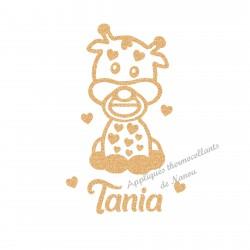 Appliqué thermocollant bébé girafe avec prénom personnalisé en flex pailleté