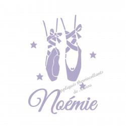 Appliqué thermocollant chaussons danseuse personnalisé avec prénom velours