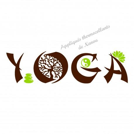 Appliqué thermocollant yoga zen velours brun