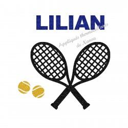 Appliqué thermocollant tennis pailleté personnaliséprénom