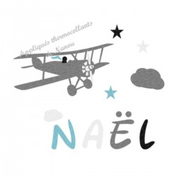 Appliqué thermocollant personnalisé avion nuage velours