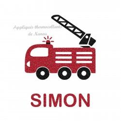 Appliqué thermocollant camion pompier personnalisé avec prénom pailleté