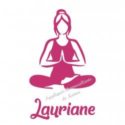 Appliqué thermocollant personnalisé yoga femme velours avec prénom