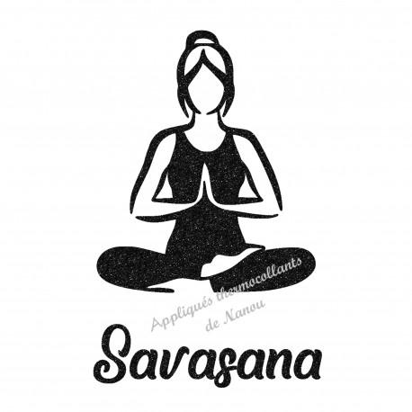 Appliqué thermocollant personnalisé femme yoga avec prénom