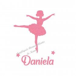 Appliqué thermocollant danseuse ballerine personnalisé en flex pailleté