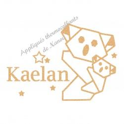 Appliqué thermocollant personnalisé koala origami en flex pailleté