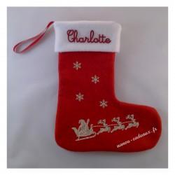 Botte chaussette de Noël traîneau père Noël rennes avec prénom personnalisé