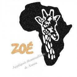 Appliqué thermocollant personnalisé carte Afrique texte en flex pailleté