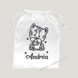 Petit sac personnalisé bébé tigre avec prénom velours pochon