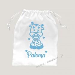 Petit sac personnalisé bébé girafe avec prénom velours pochon