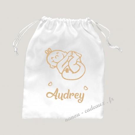 Sac pochon personnalisé bébé fille avec prénom pailleté
