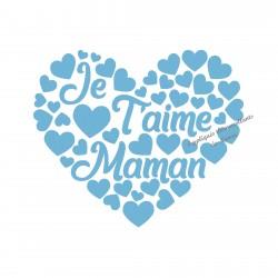 Coeur Je T'aime Maman en flex velours appliqué thermocollant