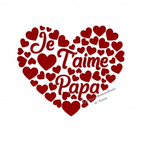 Cœur Je T'aime Papa en flex velours appliqué thermocollant