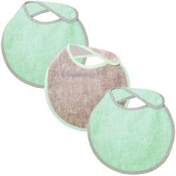 Lot de 3 bavoirs naissance turquoise gris