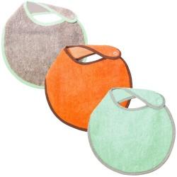 Lot de 3 bavoirs naissance turquoise gris orange