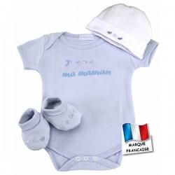 Ensemble bébé cœur bleu body, chaussons et bonnet